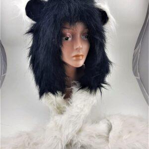 כובע חיות פנדה צעיף עם ראש דב פנדה בשילוב כפפות לידיים
