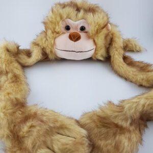 כובע חיות קוף צעיף עם ראש קוף בשילוב כפפות לידיים