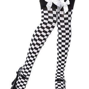 גרבי ברך משבצות שחור לבן פפיון שחור גרביונים לנשים איכותיות עד הברך שחור לבן