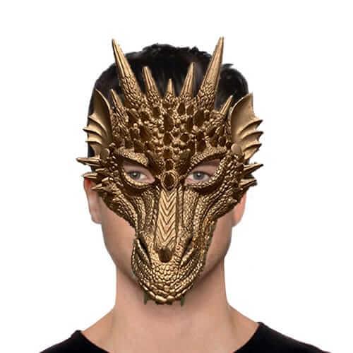 מסכת דרקון זהב חצי פנים מסכת PU , מסכת חצי פנים איכותית לפורים