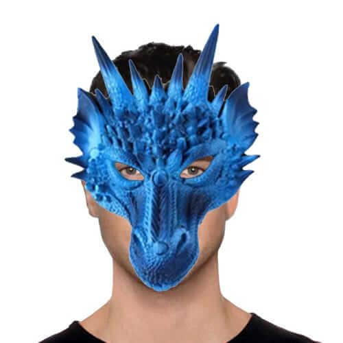 מסכת דרקון כחול חצי פנים מסכת PU ,מסכת חצי פנים איכותית לפורים