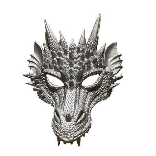 מסכת דרקון כסף חצי פנים מסכת PU ,מסכת חצי פנים איכותית לפורים