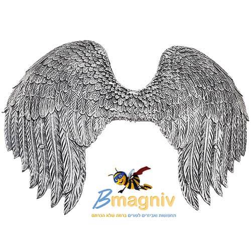כנפיים מלאך כסף שחור PU