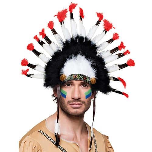 קשת אינדיאני נוצות שחור אדום לבן