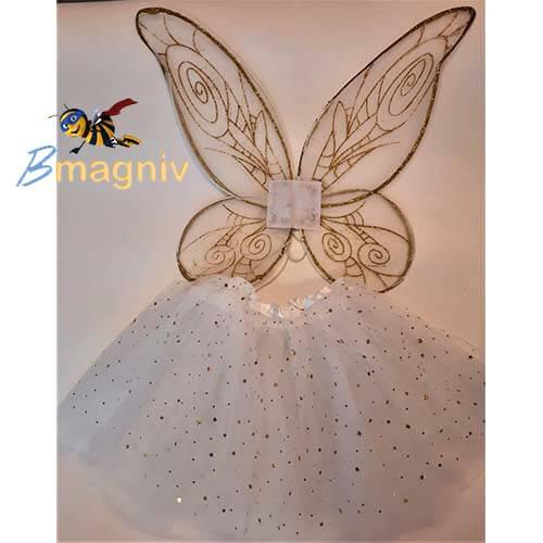 סט פייה זהב כנפיים לבן זהב + חצאית לבנה עם כוכבים זהב