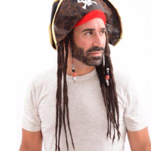 כובע ג'ק ספארו פיראט שודדי הקריביים עם ראסטות