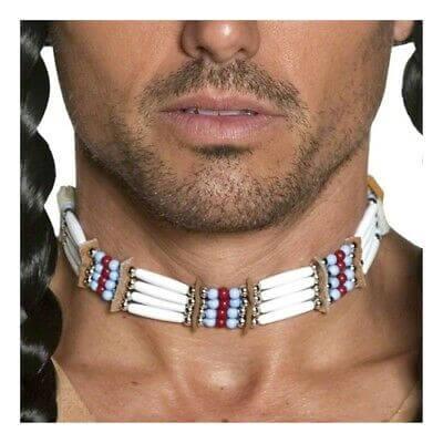 שרשרת צוקר לצוואר אינדיאני לגבר או לאישה מתאים לתחפושת אינדיאני