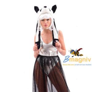 כובע חיות פנדה מדליק עם אורות ואוזניים זזות