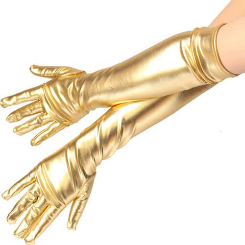 כפפות זהב ארוכות סטן