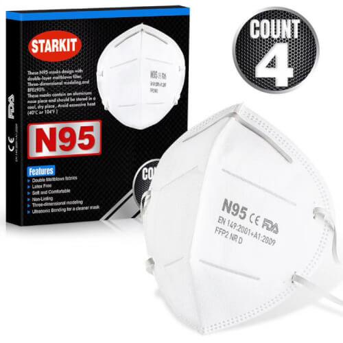 מסכה הגנה נשמית N95 מקצועית נגד קורונה : מארז 4 מסכות
