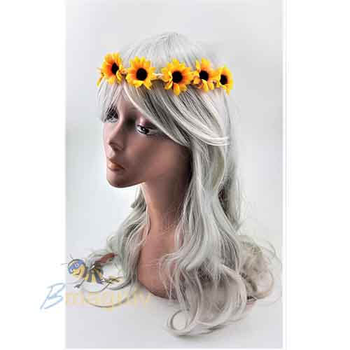סרט ראש חמנייה מעוצב מתאים לתחפושת חמנייה , תחפושת היפית , תחפושת נערת הפרחים