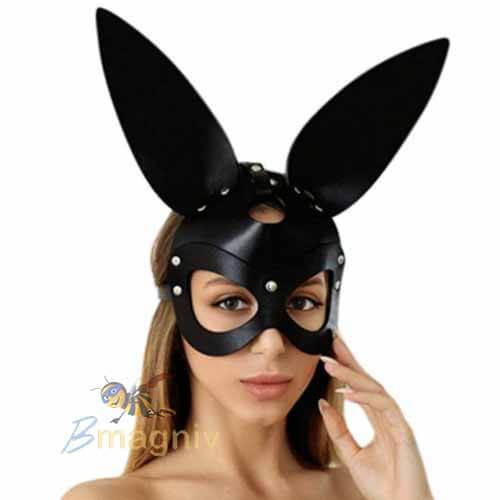 מסכת ארנב דמוי עור לאישה מסכה יוקרתית ומיוחדת