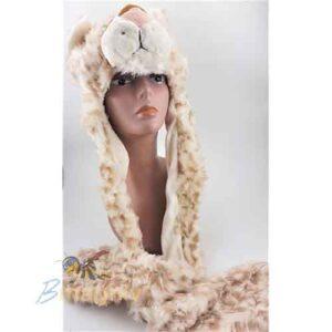 כובע חיות נמר צעיף עם ראש נמר בשילוב כפפות לידיים