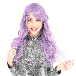 פאה ארוכה חלקה סגולה איכותית שיער גלי