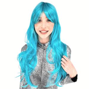 פאה ארוכה שיער גלי כחול טורקיז איכותית